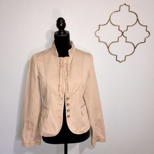 J. Crew tan cotton jacket with ruffle trim
